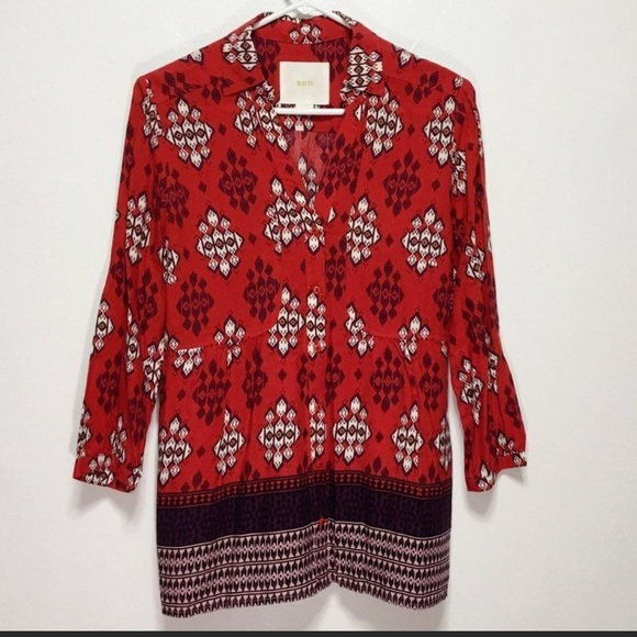 Anthropologie Maeve Red Long Sleeve Buttondown